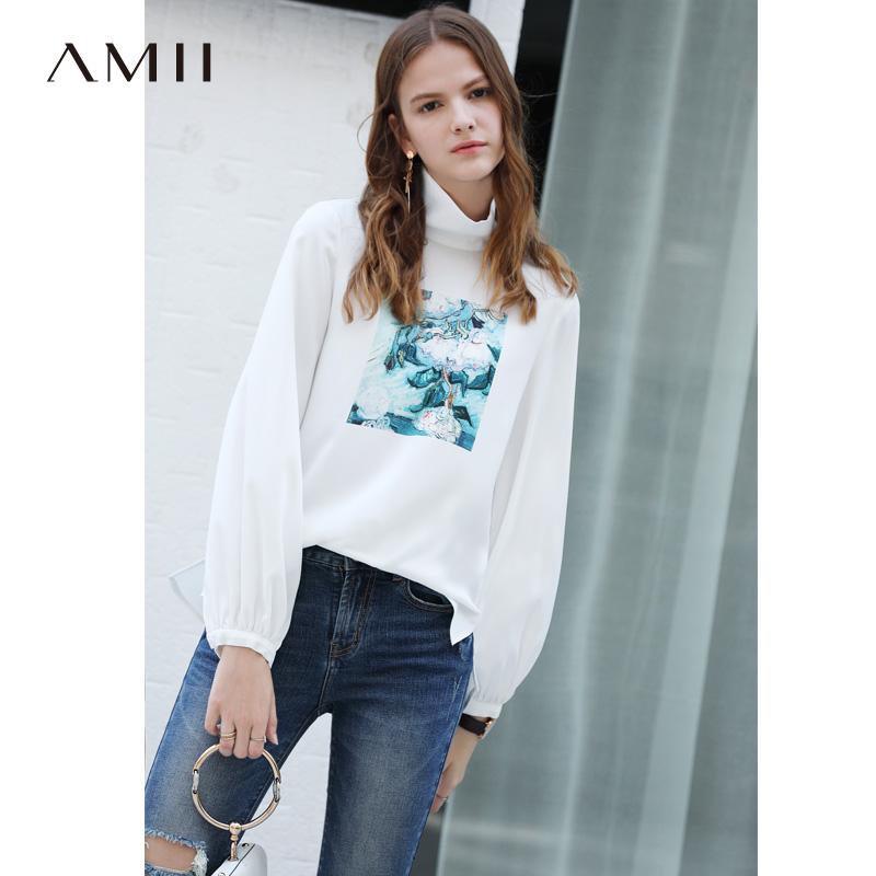 Amii Women Minimalist 2019 Autumn T Shirt Chic Print High Quality Original Design Female Tee Tops