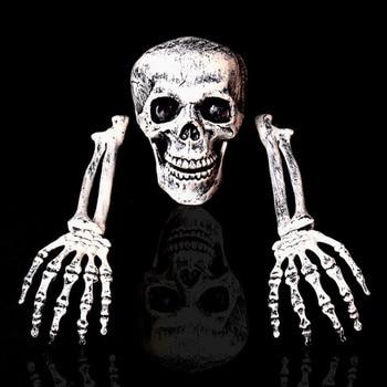 2018 Skeleton Christmas Prop 100% Plastic Lifelike Human Bones Skull Figurine for Horror Halloween Party Decoration 1