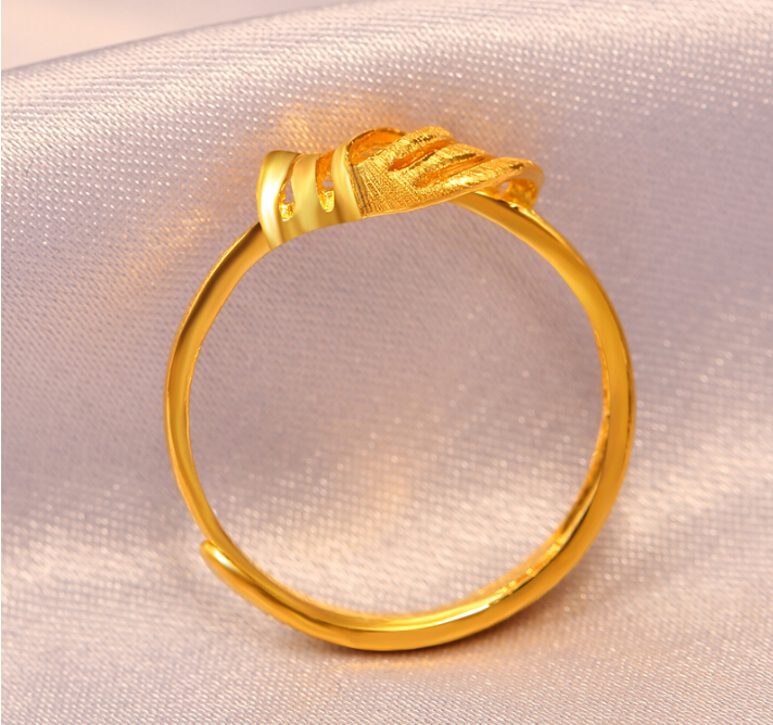 Fine Jewelry Pure 24k Yellow Gold Ring Unique Knot Design Adjustable Ring - 5