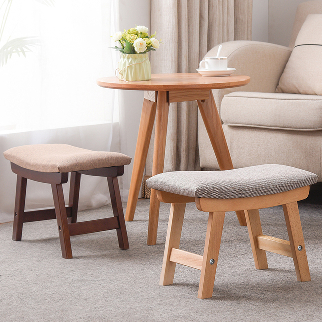 living room footstool pics of blue and brown rooms new chair pufe taburetes kruk simple stools solid wood shoes household cloth small adult modern wooden