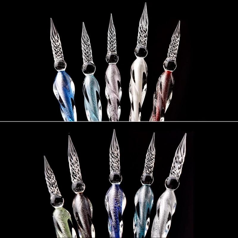 Crystal Glass Dip Pen Set Non carbon Ink Fountain Signature Pen Writing Tools dropshipping