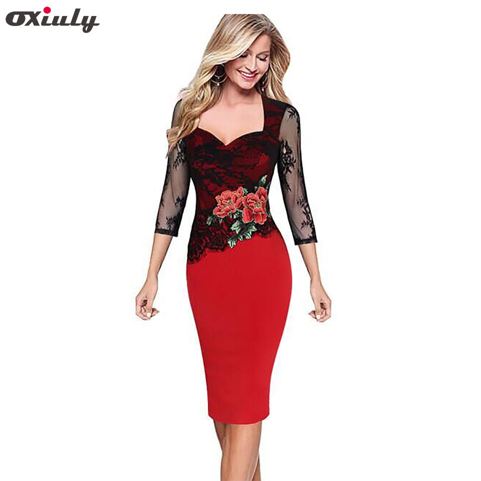Oxiuly Women Floral Embroidered Translucent Lace Sleeve Dress Party Bridesmaid Wear Club Bodycon Sheath Pencil Dress
