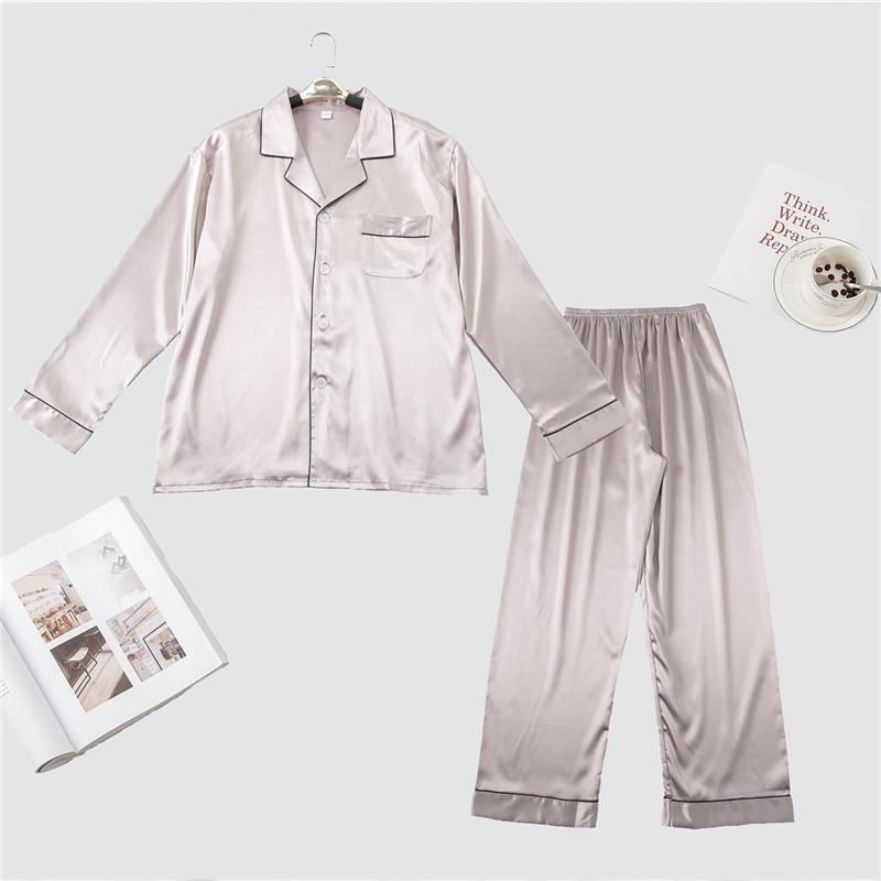 Spring Autumn Silky Satin Male 2 Pieces Nightwear Leisure Long Sleeve Sleepwear Set Solid Color Pajama Pyjama Suit L XL XXL