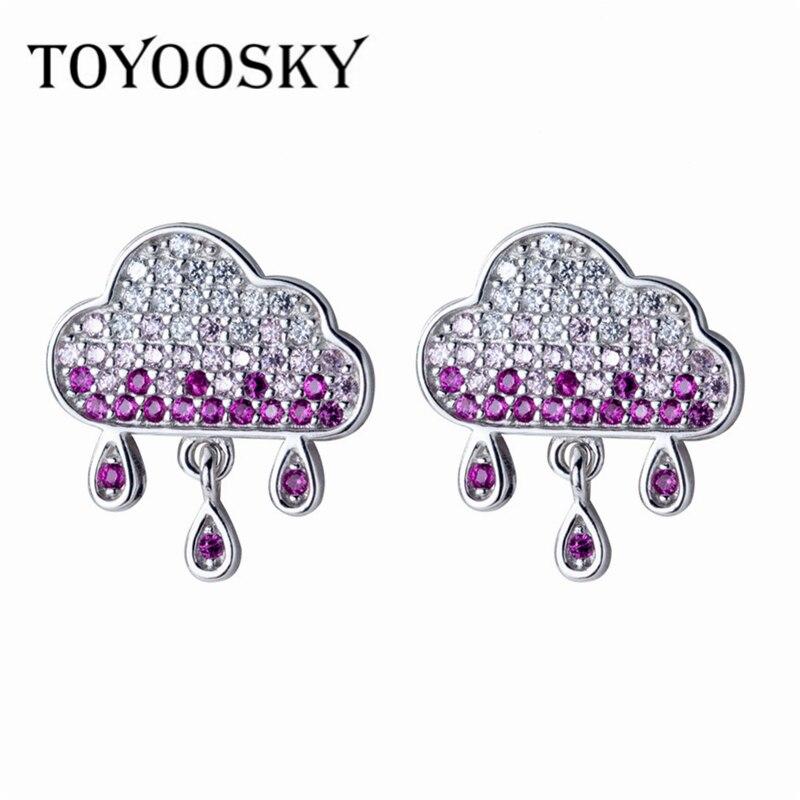 TOYOOSKY Stilvolle Einfache Perlen Elegante Frauen Nette Wolken Regentropfen Ohrringe Reine 925 Sterling Silber Ohr Schmuck