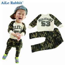 AiLe Rabbit Spring Autumn clothing new 53 camouflage suit baby boys and girls children s letters