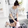 Summer Short-sleeve 100% Cotton Cartoon Female Sleep Set Summer Thin Women's Loose Lounge