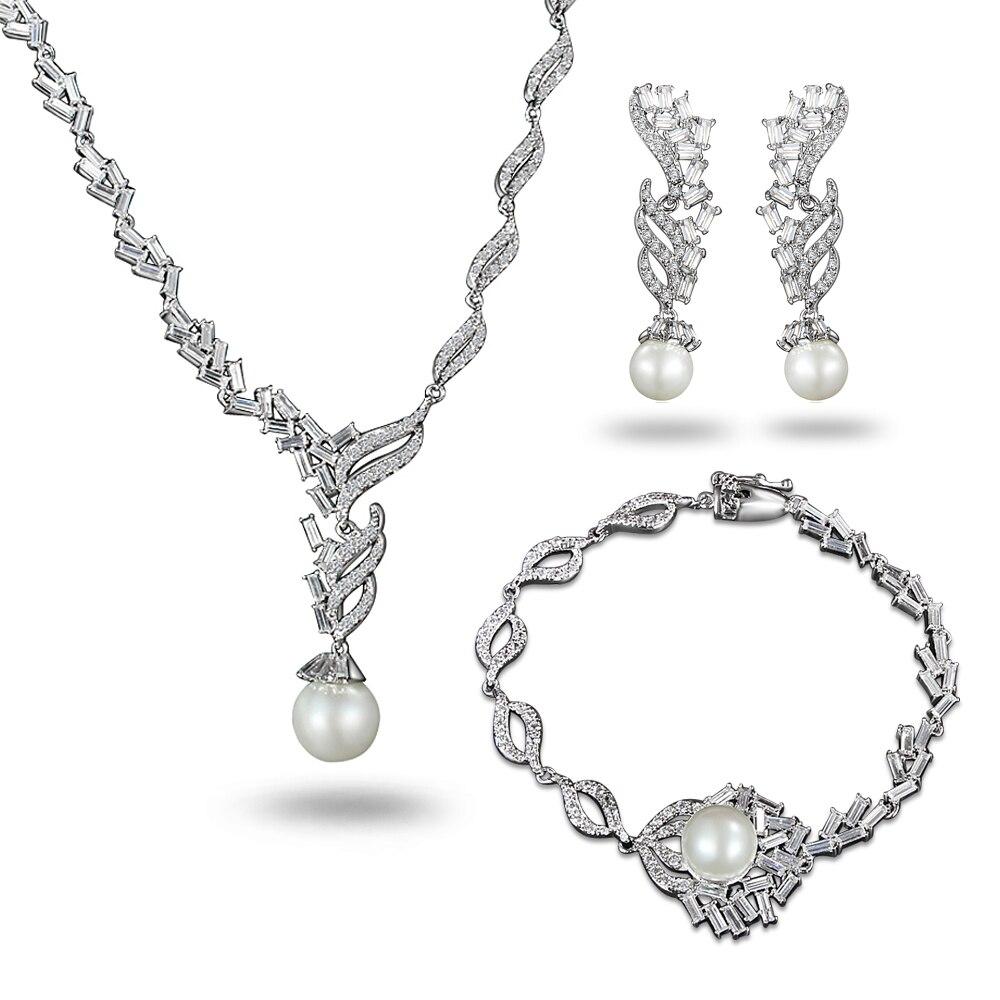 Cristal autrichien CZ perle Style victorien collier boucles d'oreilles Bracelet ensemble