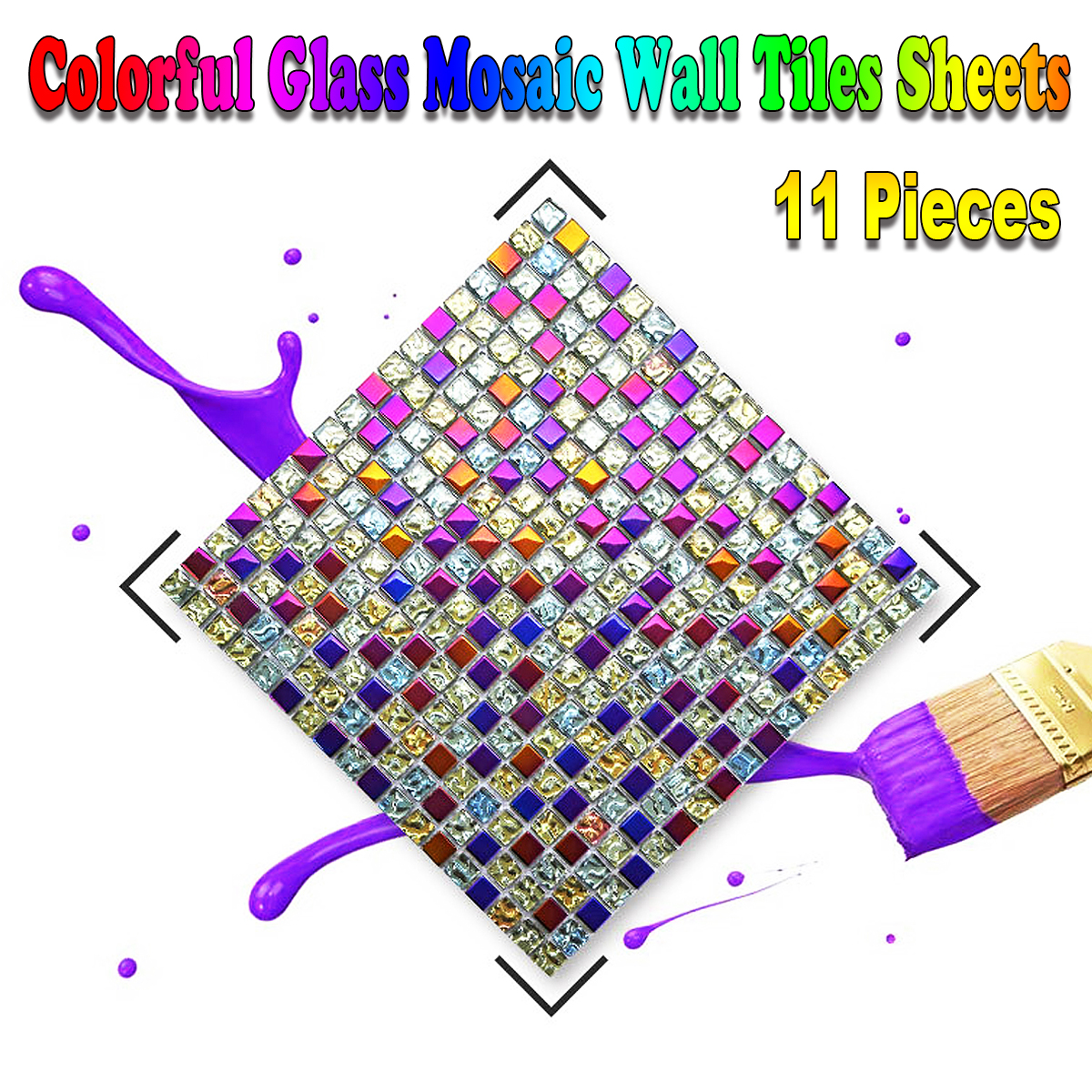 11 Pieces Colorful Glass Mosaic Wall Tiles Sheets for Living room Bathroom Pub Bar Wall Stickers European Modern Style Decor
