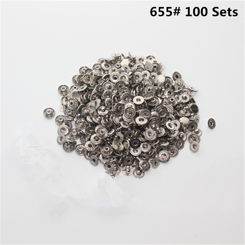 100 sets of 655 copper metal snap button 1 cm silver wallet button coat metal buckle luggage shoes and hats gloves buttons