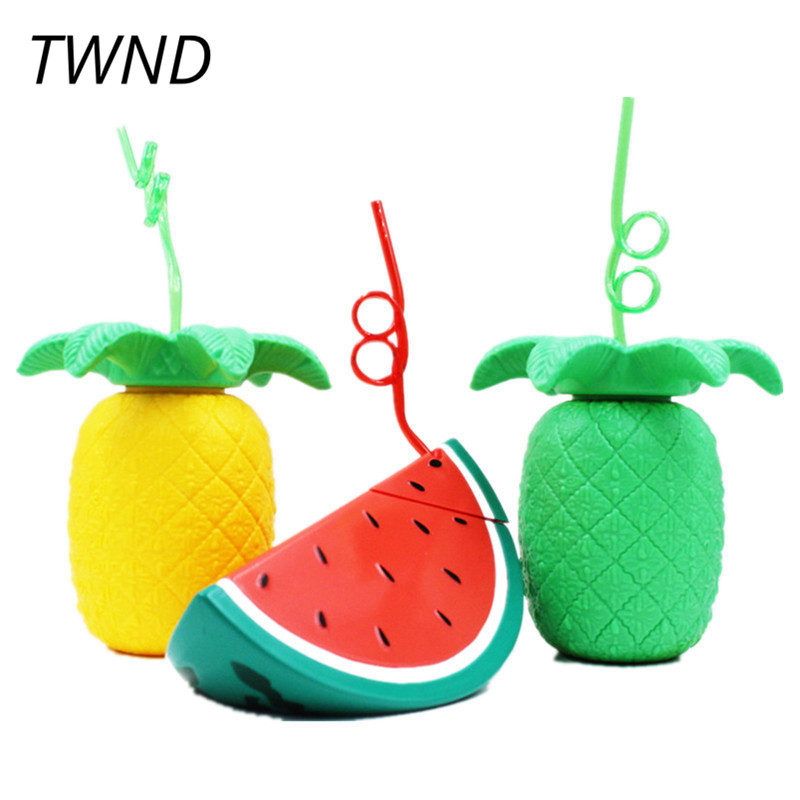 Pineapple straw cup beach fruit juice drink mug children watermelon straw cups and mugs taza de m&m