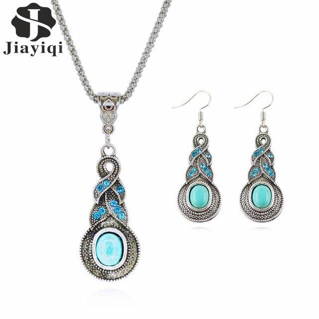 Fashion Jewelry Sets Tibetan Green Stone Chain Necklace & Pendants Silver Color Water Drop Shaped Stud Earrings Women Collar