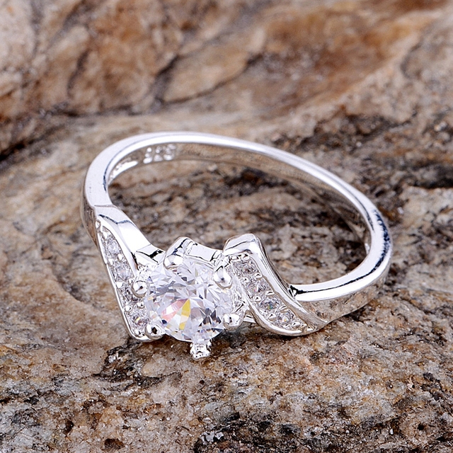 inlaid shiny rounded Wholesale silver plated ring 925 Fashion jewelry Silver Rin