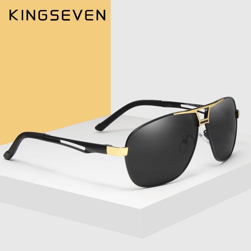 KINGSEVEN 2018 Syze dielli për meshkuj Dizajnerë të markave të polarizuara të lenteve të sheshit Driving syze dielli alumini Kornizë klasike Oculos De Sol 7821