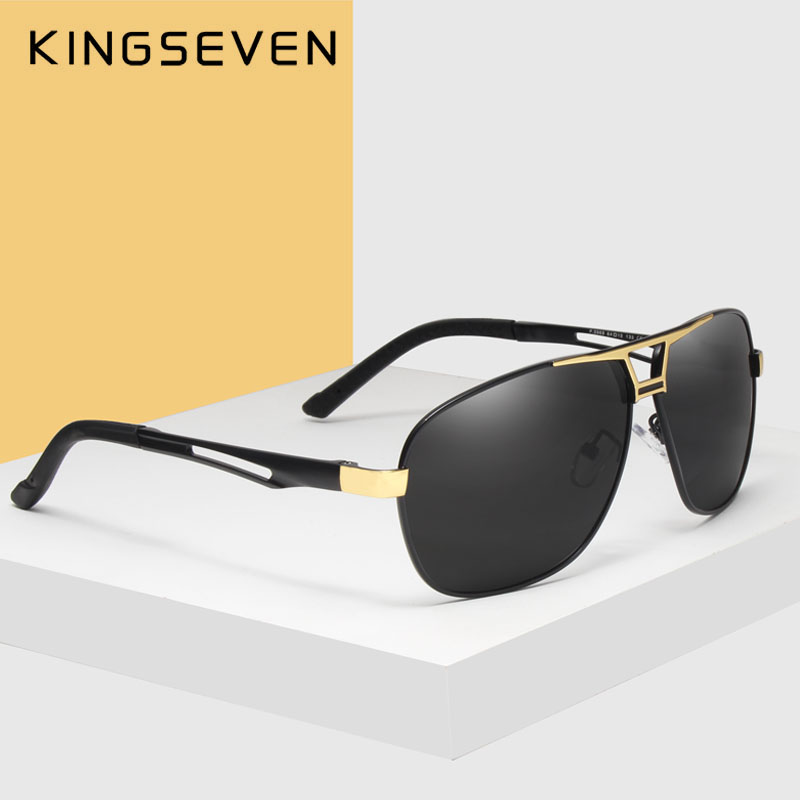 KINGSEVEN 2018 عینک آفتابی عینک آفتابی مردانه قطب برند طراحی لنز درایور عینک آفتاب آلومینیوم قاب کلاسیک Oculos De Sol 7821