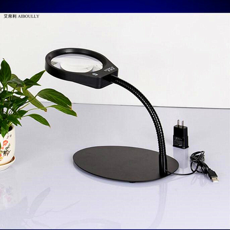 Home 10 desktop magnifying glass with LED light brightness adjustable elderly reading maintenance tools children table lamp  цены