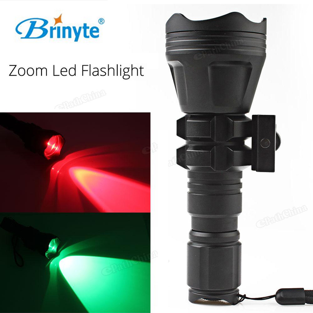 Brinyte B158 Convex Lens Zoomable LED Flashlight Torch Waterproof Outdoor Tactical Hunting Flash Light Red / Green Light