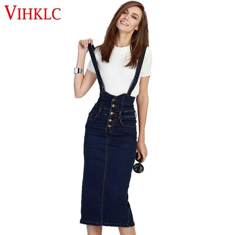 569ccc98633 2017 Summer Loose Sweet Jeans Skirt Women Washed Suspender Denim Sundress  Denim Overall Akirt Color Blue