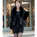 Fur Faux Fur Coat Mink Hair Rex Rabbit Hair Cape Jacket 2016 Black White Fur Overcoat Imitation Rabbit Fur Faux Fox Collar XXXL
