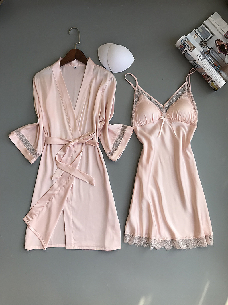 Queenral 2PCS Women Gown Sets Silk Satin Robe Nightgown Set Sleepwear Home Suit Night Sleep Plus Size M-XL Intimate Lingerie    4