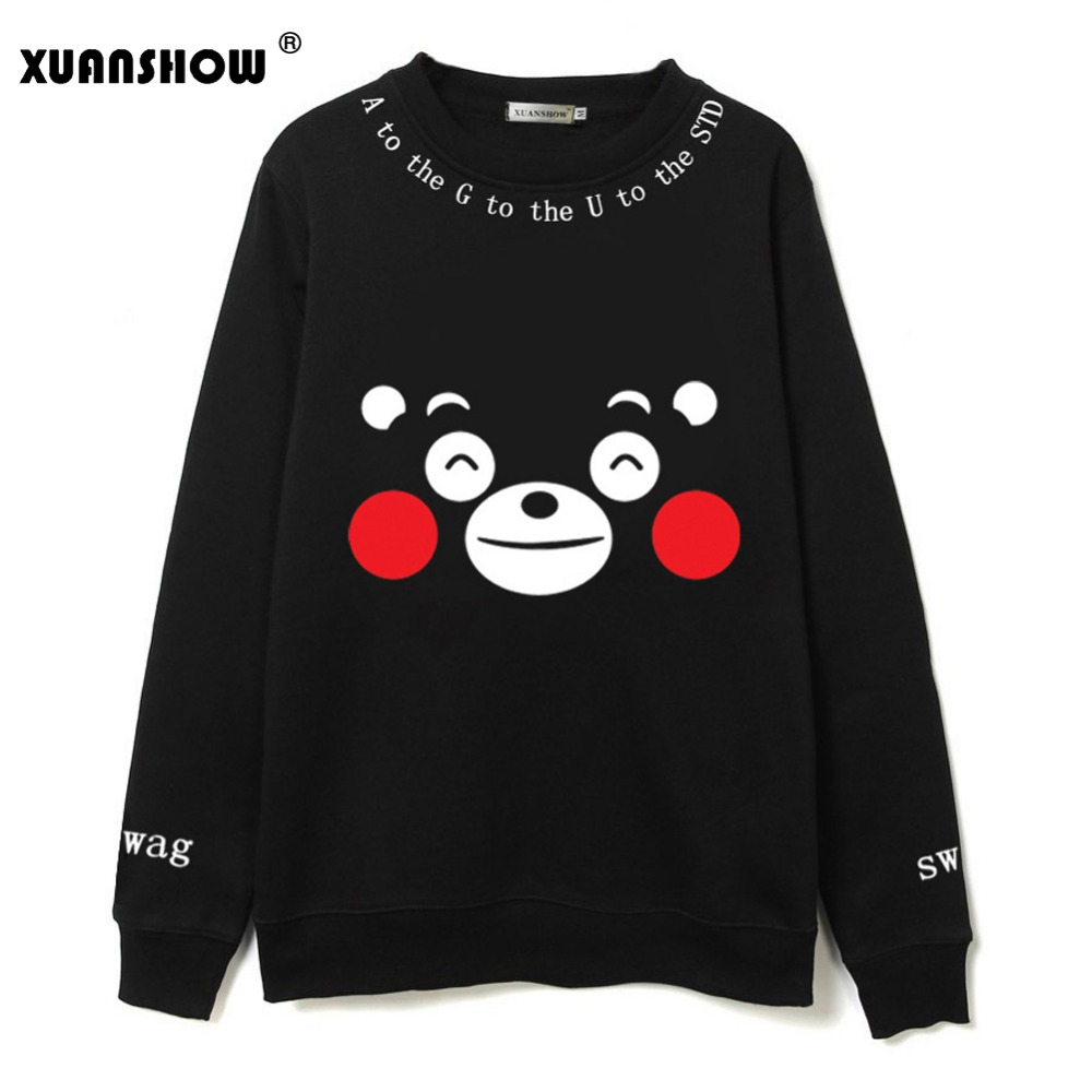 Sudadera de mujer XUANSHOW Kawaii Kumamoto oso impreso Color negro Linda caricatura polar Kpop equipo Fans ropa sudaderas