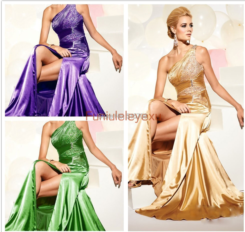Purple and Gold Prom Dresses