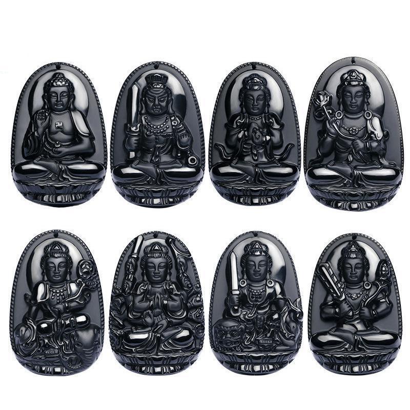 Natural Preto Obsidian Sorte Amuleto Colar Pingente Escultura Buda Natal Oito Padroeiro Chinês Zodíaco Doze Jóias