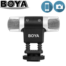 BOYA BY MM3 Dual Head Professional Stereo Recording Microphone for iPhone Android Smartphone DSLR Camera DV Livestreaming Video