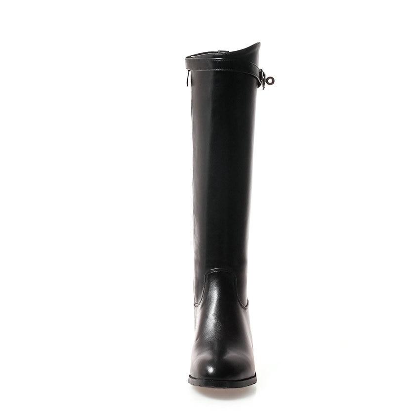 Punta Esveva 34 Negro Mujer blanco Concisa Zip Cuero Botas verde La 43 Pu Redonda Elegantes Rodilla Zapatos 2019 Tacones Cuadrado Hasta Med De Invierno HwZSFHxrq