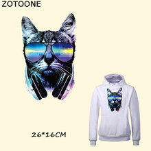 ZOTOONE Iron On Patches For Clothes Music Blue Cat Patch A-level Washable Stickers Easy Print By Household DIY Accessory