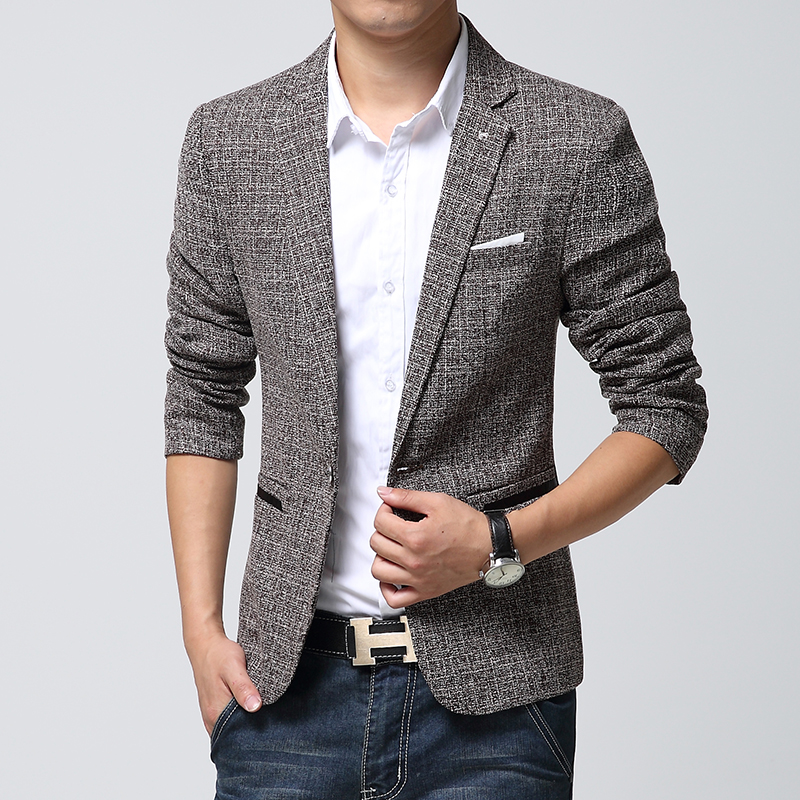 British S Style New Brand Blazer Men Linen Casual Suit