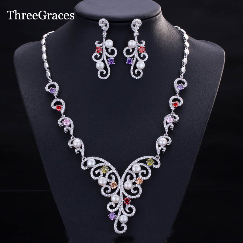 ThreeGraces New African Bridal Jewelry Multi Colored CZ Crystal Women Wedding Earrings Necklace Sets With Fresh Pearls JS141