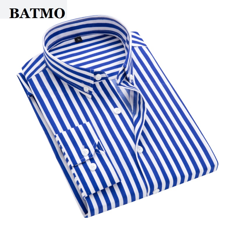 Batmo 2019 New Arrival Spring High Quality Stirped Casual Blue Shirts Men,men's Striped Shirts,white Shirts Men Plus-size S-5XL