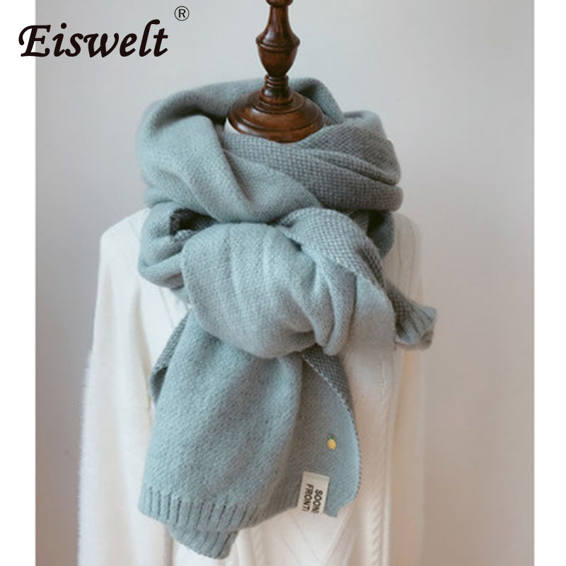 EISWELT 2018 Autumn Winter Female Wool Plaid   Scarf   Women Cashmere   Scarves   Wide Lattices Long Shawl   Wrap   Blanket Warm Tippet Drop