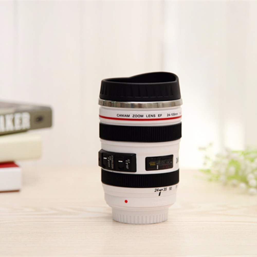400ml Stainless Steel Camera Lens Mug With Lid New Fantastic Coffee Mugs Tea Cup Novelty Gifts Caneca Cups Drinkware