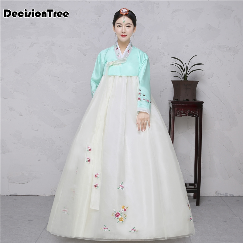 2019 Embroidery Korean Traditional Dress Pink Women Cotton Hanbok Korean National Costume Stage Performance Aisa Clothes
