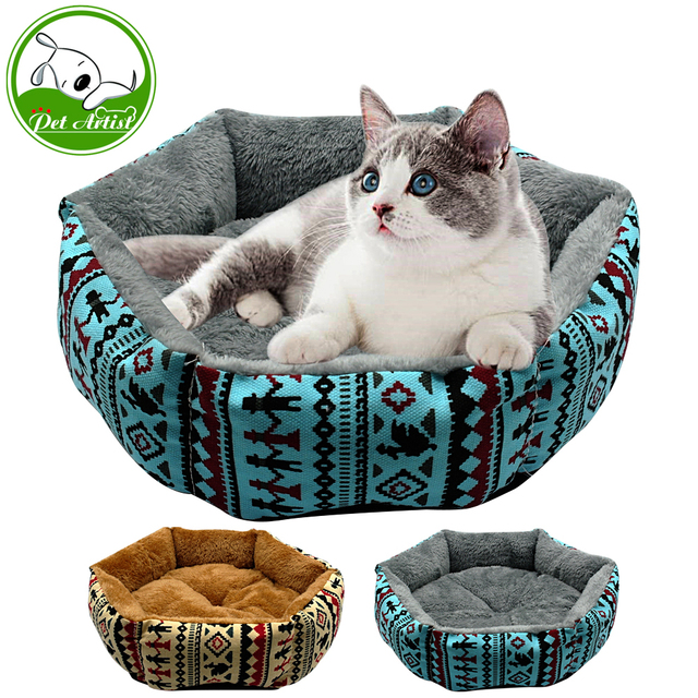 Winter Printed Pet Dog Nest Puppy Cat Bed Warm House Kennel Plush Mat  Small Dog Bed With Removable Cushion cama para cachorro