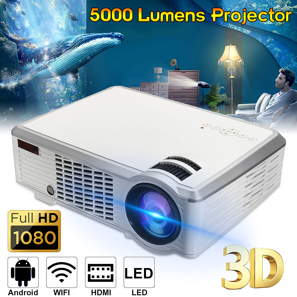 7000 Lumens 1080P Full HD Wireless Projector 3D LED Home Theater Cinema Multimedia Beamer HDMI USB AV CN/US/EU regulations стоимость