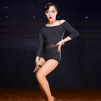 2017 Sex Lady Latin Dance Tops Black Color Short Sleeve Crop Top Roupa De Ginastica Salsa Samba Costume Latin Dance Dress Women