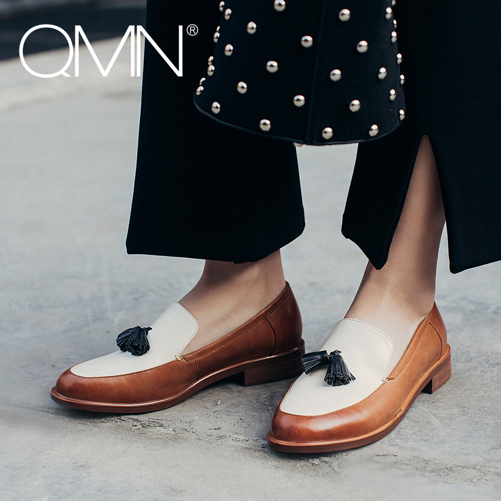 ФОТО QMN women genuine leather flats Women Brushed Contrast Color Leather Round Toe Slip On Leisure Shoes Woman Tasseled Flats