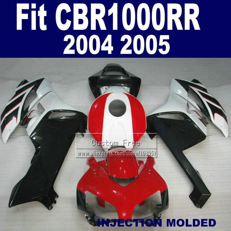 Custom100% Впрыски ABS обтекателя комплекты для Хонда CBR1000RR ЦБ РФ 1000 рублей 2004 2005 04 05 ЦБ РФ 1000rr красный черный обтекатели комплект