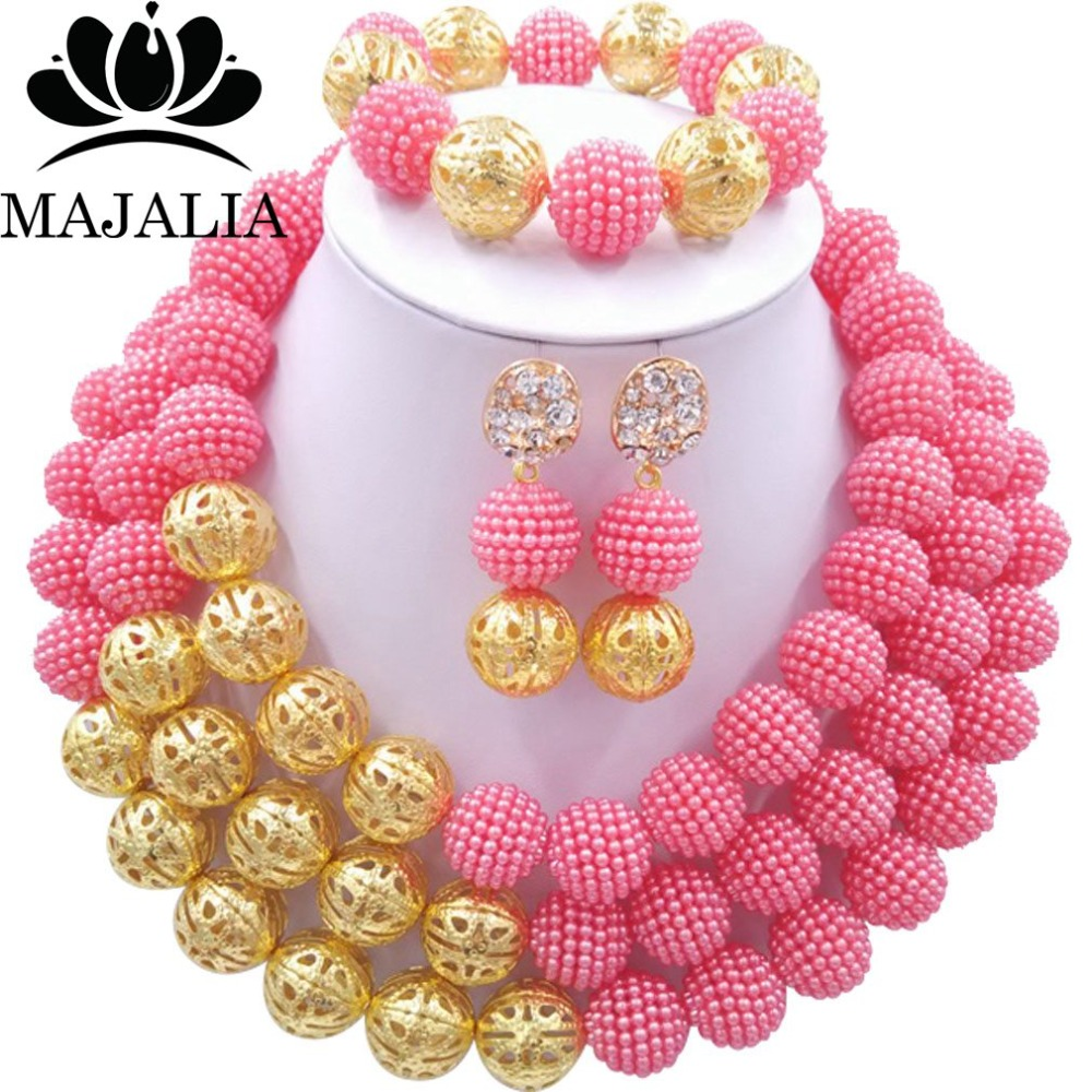 Majalia Fashion Nigerian Wedding African Jewelery Set Coral pink Crystal Plastic Pearl Necklace Bride Jewelry Sets 3SQ026