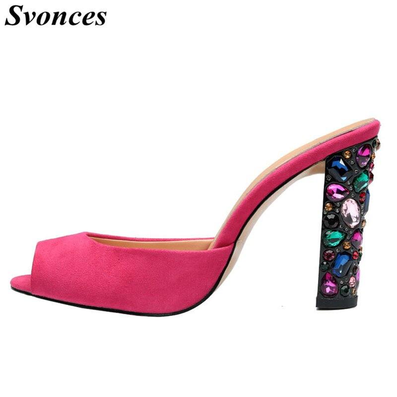 2019 Summer New Peep Toe Women Pumps Rhinestones Sandals Jewel Thick High  Heel Fashion Ladies Slides 833ddc8646f2