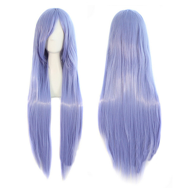 80cm Fashion Sexy Long Natural Straight Central Parting Full Wig Women's Cosplay Wigs Girl Purple HB88