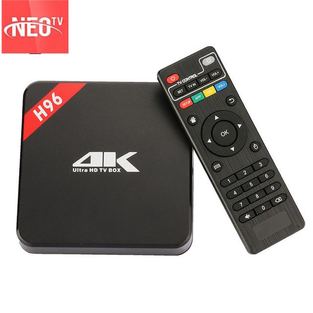 Prix pour Chaude Français IPTV BOÎTE H96 Android 4 K 2G/16G tv box + 1 année neo iptv compte europe iptv abonnement arabe iptv france canal plus