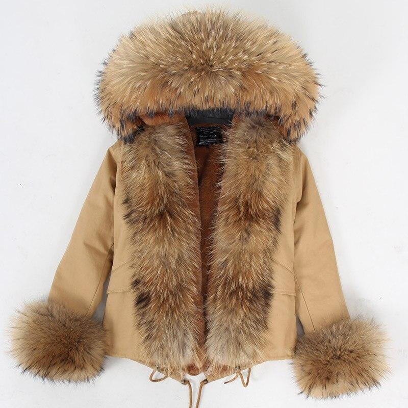 2018 хаки короткие Цвет парка зимняя куртка Для женщин парки натуральный мех пальто натуральный мех енота капюшоне искусственного меха Лайне