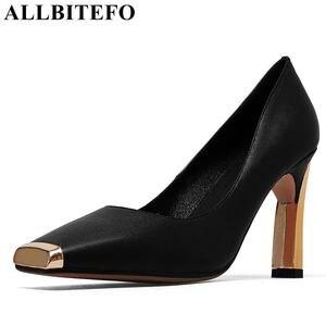 Image 1 - ALLBITEFO المقاس: 33 41 جلد طبيعي مربع اصبع القدم حذاء نسائي ذو كعب عالٍ معدني تو عالية الكعب الربيع النساء مضخات أحذية النساء الحفلات