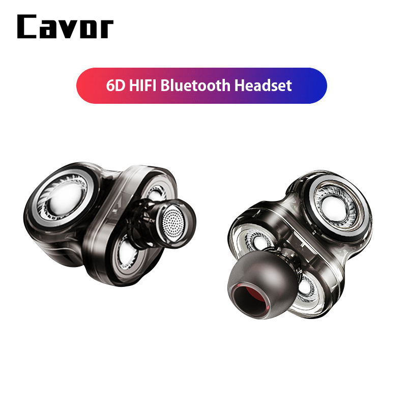 6D Sports HiFi Wireless Earphones Waterproof Bass Music Bluetooth Headset With Mic 6 Speakers Gaming playback 24 hours