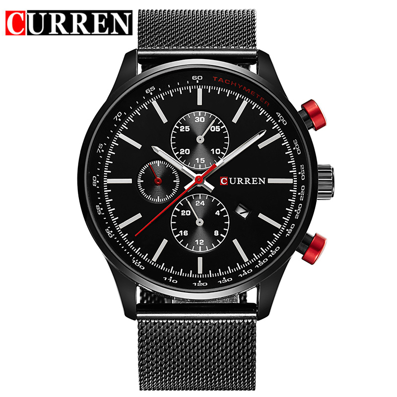 CURREN Japan Movement Black Steel Mesh Band Red Button Date Display Men Fashion Quartz Wrist Watches Male Clock Top Brand Luxury lancome stylo khol kajal карандаш для глаз водостойкий 302 кофе