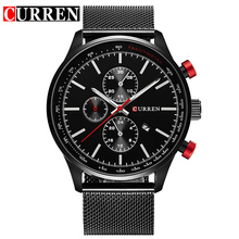CURREN Japan Movement Black Steel Mesh Band Red Button Date Display Men Fashion Quartz Wrist Watches Male Clock Top Brand Luxury
