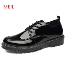 Casual Leather Shoes Men Thick Sole Black Bright Patent Oxford New Male British Style Business Formal Dress
